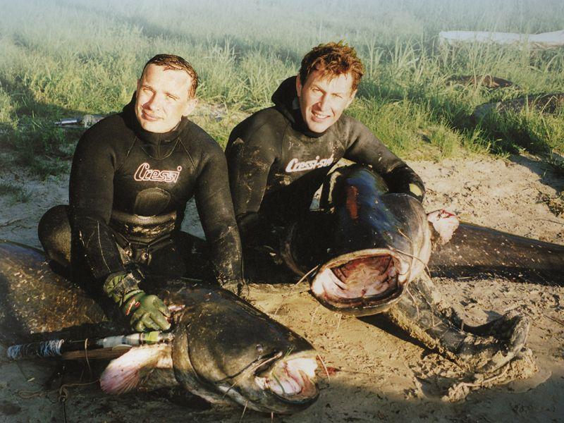 рыбалка с подводным ружьем с лодки